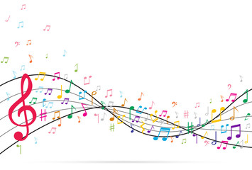 Abstract Background with Music notes.Vector Illustration
