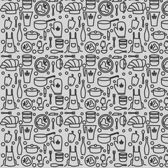 Seamless pattern with the symbols of the profession of cook