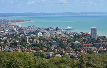 Looking down at the seaside town of Eastbourne in East Sussex.