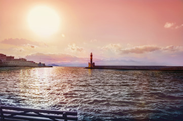 Sunset at the Venetian Lighthouse at Chania