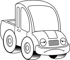 Sad Cartoon Pickup Truck