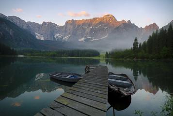 Mountain lake in the Julian Alps in Italy