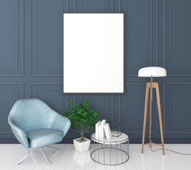 mock up poster frame in classic interior background, modern style, 3D render, 3D illustration