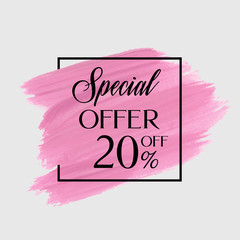 Sale special offer 20% off sign over watercolor art brush stroke paint abstract background vector illustration. Perfect acrylic design for a shop and sale banners.