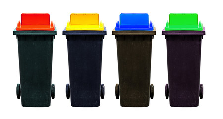 Four color of recycle bins, isolated on white background