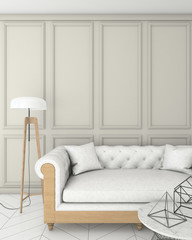 mock up beige interior background with sofa, classic style, 3D render, 3D illustration