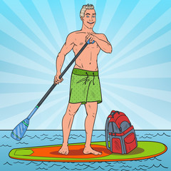 Pop Art Young Man Paddling on Stand Up Paddle Board. SUP Watersport on the Sea. Vector illustration