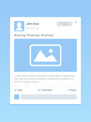User interface design for social media post vector illustration