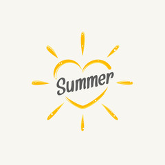 Heart shaped sun icon with summer text vector illustration
