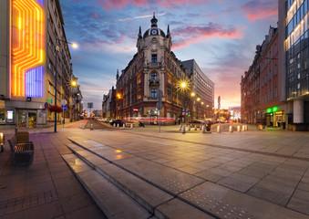 Obraz Centralny plac Katowic o zachodzie słońca - fototapety do salonu