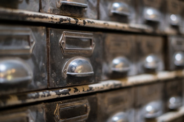 old library drawer closeup - vintage furniture macro
