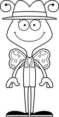 Cartoon Smiling Detective Butterfly