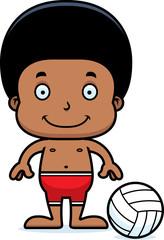 Cartoon Smiling Beach Volleyball Player Boy