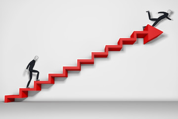 Businessman climbing ladder and falling down