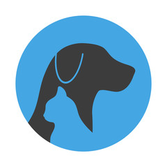 Silhouette of a cat with a dog on a blue background