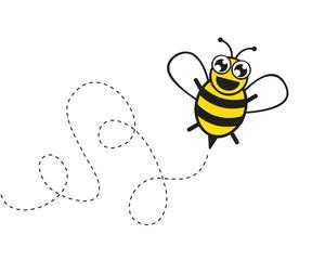 fröhliche biene fliegt durch die gegend