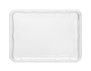 Fototapeta Plastic food tray, top view (with clipping path) isolated on white background obraz