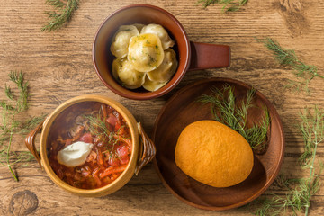 ロシア料理(ピロシキ/ペリメニ/ボルシチ)piroshki and Russian cuisine