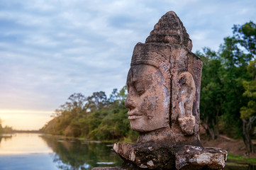 Wall Mural - sculptures in the South Gate of Angkor Wat, Siem Reap, Cambodia.