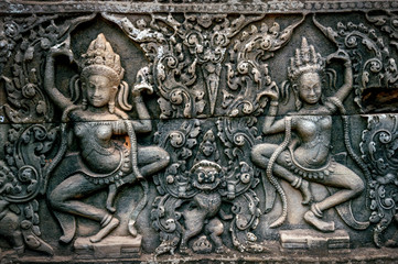 Wall Mural - Bas Relief Statue of Khmer Culture in Angkor Wat, Cambodia.