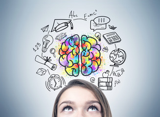 Girl s head and an education idea Wall mural