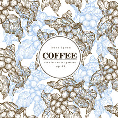 Coffee beans vector seamless pattern. Engraved vintage style illustration. Organic coffee beans. Banner template.