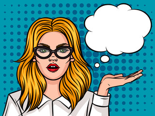 Young attractive girl showing something. Portrait of a business woman wearing glasses with hand up. Pop art style background with speech bubble