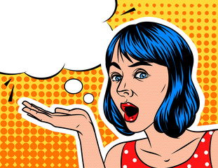 A Girl  in shocked emotion. Young attractive woman wants to show something.  Pop art style background with speech bubble