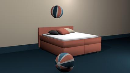 Lachsfarbenes Boxspringbett mit zwei hüpfenden Softbällen und Kissen zur Dekoration.
