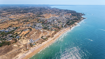 Aerial. Many tourists on the beach of Gale, the view from sky. Albufeira.