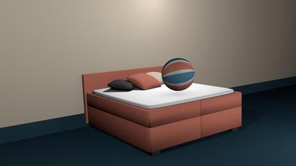 Lachsfarbenes Boxspringbett mit einem hüpfenden Softbällen und Kissen zur Dekoration.