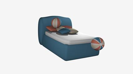 blaues Boxspringbett aus Seitenansicht mit hüpfenden Softbällen