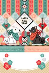 2018年2030年戌年完成年賀状テンプレート「白犬黒犬狛犬トリオ和風デザイン」HAPPYNEWYEAR