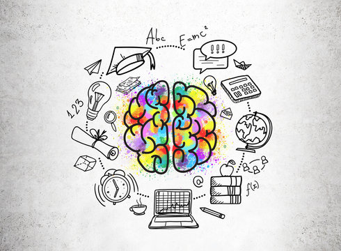 Education icons and a colorful brain sketch