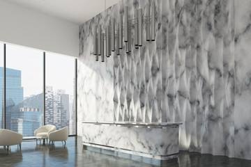 White marble reception counter