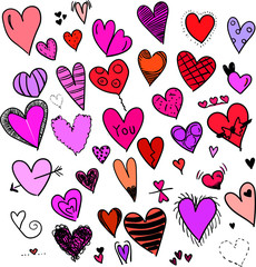 handgemalte Herzen Kollektion verschiedene Formen Muster Farben