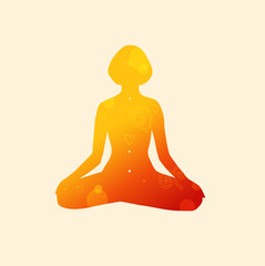 Vector contour of woman in the yoga pose, the Lotus position. Decorative female silhouette. Relax and meditate. Healthy lifestyle, wellness beautiful illustration