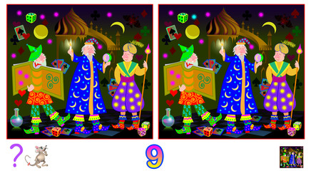 Logic puzzle game for children and adults. Need to find nine differences. Developing skills for counting. Vector cartoon image.