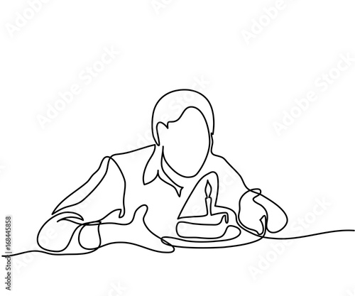 Incredible Man Holding Birthday Cake With Candle Continuous Line Drawing Personalised Birthday Cards Vishlily Jamesorg
