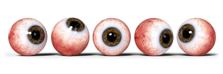 five realistic human eyes with brown iris, isolated on white background  Fototapete