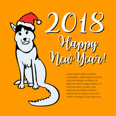 Happy small Dog in Santa Claus hat sitting and smile. Dog is symbol of 2018 year on chinese calendar.