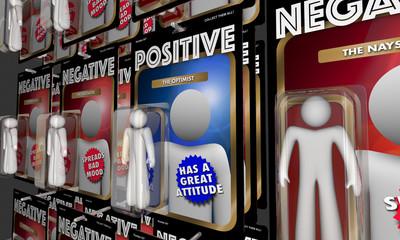 Positive Vs Negative Action Figures Good Attitude 3d Illustration