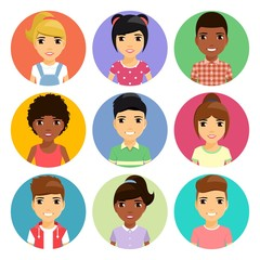 A set of portraits of children. Children with different hairstyles. Different ethnicity. Cartoon. In flat style.