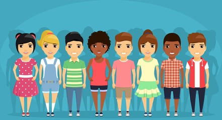 A group of children of different ethnic groups in different clothes, standing next to each other. Little boys and girls. Cartoon. In flat style on blue background.