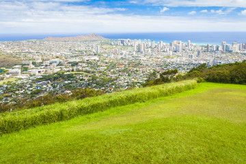 hawaii oahu waikiki city, diamond head ocean overview in summer