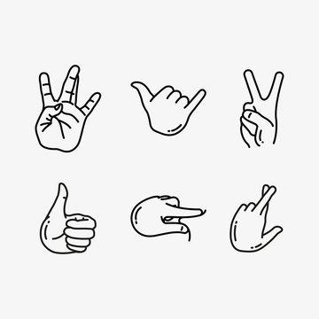 Hand Gesture Minimalistic Flat Line Vector Icon Set