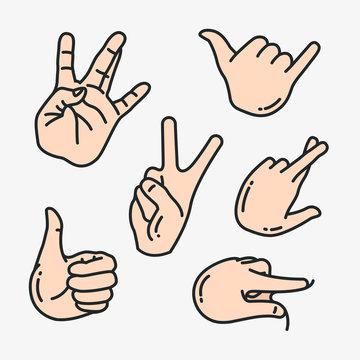 Hand Gesture Minimalistic Flat Line Color Vector Icon Set