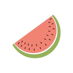 Wassermelone - Icon, Piktogramm, grafisches Element - bunt, rot, grün, schwarz, weiß