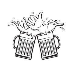 black illustration of beer glasses with foam as hand