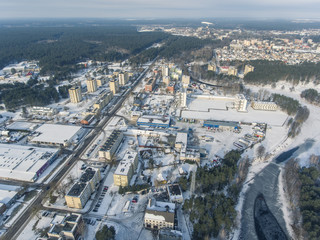 Aerial view over industrial neighbourhood in Druskininkai. Winter season in Lithuania.